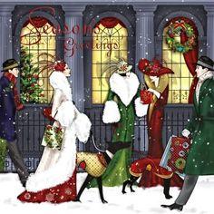 Art deco Christmas card by Claire Coxon pieces) Art Deco Illustration, Christmas Illustration, Illustrations, Christmas Scenes, Christmas Pictures, Christmas Art, Christmas Holidays, Xmas, Christmas Shopping