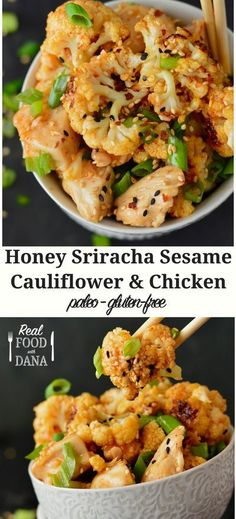 Honey Sriracha Sesame Cauliflower & Chicken | Real Food with Dana
