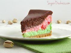 Triple-Layer Spumoni Cheesecake from sugarduchess.com