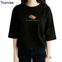 >> Click to Buy << Summer Women Tops Japanese Sushi Printed Cartoon Kawaii T Shirt Women Short Sleeved Women's T-Shirt Fashion Style Couple Clothes #Affiliate