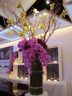 branches or bamboo around base -2 different# orchids and #naked branches with orchids attached-clean-dramatic-Gorgeous