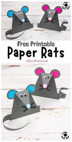 This EASY PAPER MOUSE CRAFT (or Paper Rat Craft) is super simple with a FREE PRINTABLE TEMPLATE. These fun paper mice (paper rats) stand upright and have cute whiskers and long tails that can be curled. It's a great mouse/rat craft to go with nursery rhymes like Hickory Dickory Dock. #kidscraftroom #mousecrafts #ratcrafts #kidscrafts #papercrafts #printablecrafts #micecrafts #animalcrafts