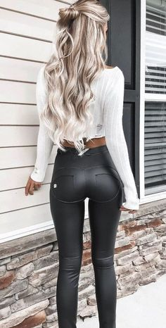 #winter #outfits black leggings - love these with a simple white tee or cropped top.