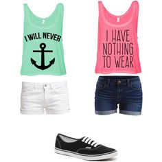 Tank top/shorts/ vans by amberpend on Polyvore featuring polyvore, fashion, style, VILA, Le Temps Des Cerises and Vans