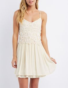 Taupe Floral Crochet Babydoll Dress by Charlotte Russe