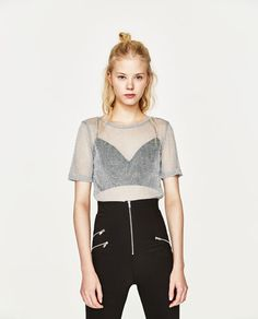 Image 1 of SHINY STRETCH T-SHIRT from Zara