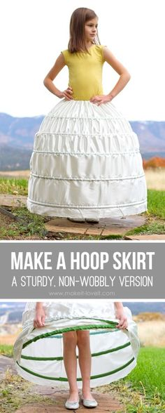 DIY Hoop Skirt Tutorial from Make It & Love It. This is an extremely detailed tutorial and you can change the measurements easily to make this for people of all ages and sizes. The really cool thing about this hoop skirt is that the pex pipe tubing is used from the plumbing section for the hoops. Here is a before and after of this dress without and with the DIY hoop skirt from Make It & Love It.