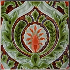 GERMANY - VILLEROY & BOCH - ANTIQUE ART NOUVEAU MAJOLICA TILE C1900