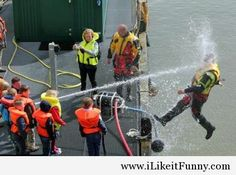 This is what a happens when a kid finds a random hose at a Coast Guard