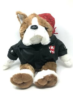 b74c68da388 Dan Dee Collectors Choice I Wuff You Plush Bulldog Dog Leather Jacket. The  leather jacket has the words