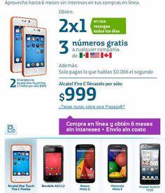 Movistar: 2×1 en equipos y recargas Movistar: 2x1 en equipos y recargas En Movistar este mes del amor llévate 2 Smartphones y aprovecha hasta 6 meses sin intereses en tus compras en línea. Obtén: 2×1 en tus recargas todos los dias,  3 números gratis a cualquier compañía, ademas solo pagas lo que hablas $0.066 el segundo  > 2 equipos B Mobile AX512 llévatelo por sólo: $1,299 > 2 equipos Alcatel Fire C llévatelo por sólo: $999
