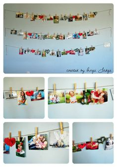 Picture Collage using twine and clothespins. Do the same thing, but make the pictures larger do different colored or sparkled clothes pins. Bigger droop, have friends help, hang important mementos as well Home Projects, Projects To Try, Diy Home Decor, Room Decor, Dorm Life, Picture Wall, Picture Frames, My New Room, Photo Displays