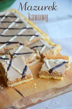Mazurek kawowy Polish Desserts, Polish Recipes, Cookie Desserts, No Bake Desserts, Delicious Desserts, Sweet Bar, Easter Dinner, Easter Recipes, Biscuits
