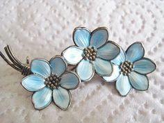 Lovely Vintage HANS MYHRE David Andersen Oslo Norway Flower STERLING Silver 925 & Sky Blue Guilloche Enamel Pin Brooch ~ Signed