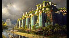 Obraz: Wiszące ogrody Semiramidy - Siedem cudów świata - Zniszczone I ...