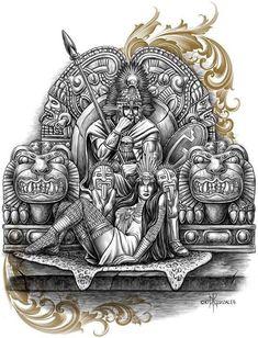 Warrior and goddess Mexican Art Tattoos, Prison Art, Lowrider Art, Tribal Art, Aztec Drawing, Chicano Art, Art, Mayan Art, Mexican Art