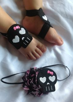 Never really cared for those foot things Baby Sandals, Bare Foot Sandals, Baby Chloe, Rockabilly Baby, Goth Baby, Baby Rocker, Baby Kids Clothes, Kids Clothing, Newborn Headbands