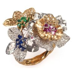 Vendorafa Lombardi with gold ring with brown diamonds, white diamonds, emeralds, sapphires and rubies