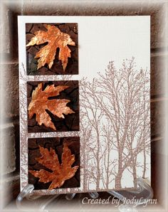 Autumn Splendor: Gold leaf - The leaves were stamped with VersaMark onto burnt orange cs and heat embossed with sticky powder. I stuck the leafing material to images and burnished them with a small stippling brush.