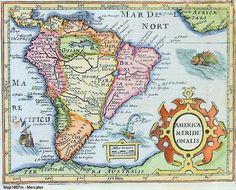 Mapa antiguo de América del Sur; mapa antigo da América do Sul; old South America map.