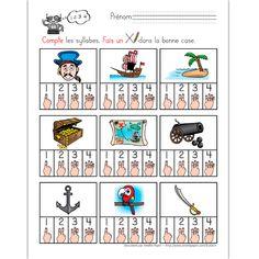 Fichiers PDF téléchargeables Versions en couleurs et en noir et blanc 3 pages  L'élève compte le nombre de syllabes pour chaque mot illustré (au son). Afin d'éviter la copie d'un élève à l'autre, le document contient 3 pages avec les mêmes images placées dans un ordre différent.