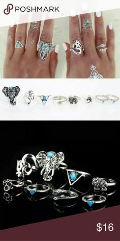 NEWSILVER PLATED 8 PCS RING SET! Silver plated Boho Style 8 piece ring set.  Perfect to pair with matching body jewelry or anklets this spring and summer!    One size fits most.  Bundle and save on price and shipping! Accessories