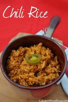 Chili Rice!  Just 3 ingredients and ready in 30 minutes!  BoldWolfChili ad