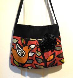 Fabulous bag purse tote designer fabric crimson bird by jewellgem, $45.00