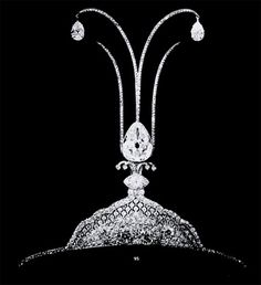 A belle epoque aigrette, 1913, by Cartier. Supported by a kokoshnic style base, this aigrette features some seriously large pear-shaped diamonds. The first acts as base from which three diamond pinnacles rise, the central then branches out to suspend two more large pear-shaped diamonds. Though it's shown here minus it's feathers, the effect must have been very striking when worn.