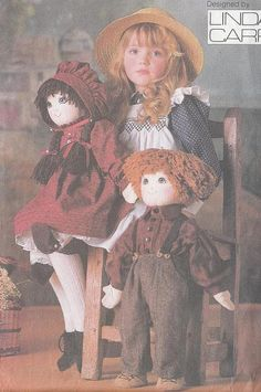 Sewing Pattern VOGUE Boy and Girl Dolls Linda Carr Classic Dressed Rag Toys