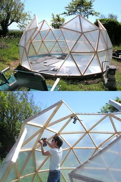 45 BEST tutorials, free building plans & ideas on how to build easy DIY greenhouses, simple cold frames, garden tunnels & hoops with low cost materials! - A Piece of Rainbow projects sketch 42 Best DIY Greenhouses ( with Great Dome Greenhouse, Backyard Greenhouse, Small Greenhouse, Pvc Greenhouse Plans, Cold Frame Gardening, Dome House, Good Tutorials, Design Tutorials, Geodesic Dome