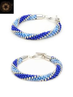 Handmade blue, sapphire and silver bracelet in Moonglade pattern with toggle clasp - beaded Kumihimo jewelry by Whirlpool Galaxy