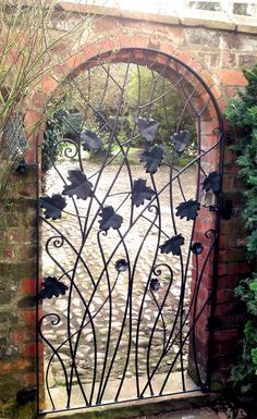 Courtyard Gate With Leaves And Flowers: