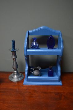 $23.90  ✿   etsy on bluefolkhome ✿:Wall Shelf Blue 2 Tiered Solid Handmade Cottage by bluefolkhome