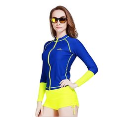 f983c531612ae Women's Long Sleeve Zip Rash Guard UPF 50+ UV Protective Surfing Diving  Swimwear #Sbart