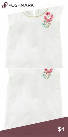 Flutter-Sleeve Rosette Tee Sweet and breezy, this flutter-sleeve tee looks cute over cut-offs.  Flutter sleeves Ribbed neckline Rosette detail  95% cotton jersey, 5% elastane Imported Machine washable Carter's Shirts & Tops Tees - Short Sleeve