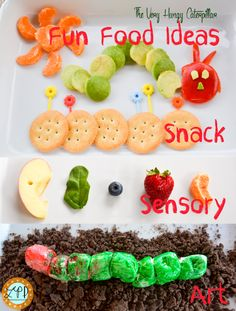 A Little Pinch of Perfect: The Very Hungry Caterpillar Fun Food Ideas for Kids (Kid Activity & Snack) (fun food activities) Hungry Caterpillar Food, The Very Hungry Caterpillar Activities, Toddler Meals, Kids Meals, Cute Food, Good Food, Bug Crafts, Cooking With Kids, Preschool Cooking