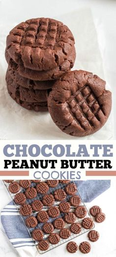 Chocolate peanut butter cookies are the best of both worlds. If you love soft ch… Chocolate peanut butter cookies are the best of both worlds. If you love soft chewy peanut butter cookies this chocolate version is for you! Chewy Peanut Butter Cookies, Chocolate Peanut Butter Cookies, Chocolate Cookie Recipes, Easy Cookie Recipes, Sugar Cookies Recipe, Yummy Cookies, Chocolate Drizzle, Peanut Butter Meme, Gf Cookie Recipe