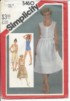 Simplicity 5460 Misses Camisoles Pull On Skirt Pantaloons Romper Vintage 1982 Sewing Pattern Uncut Out Of Print Size 10 by SodaCityFinds on Etsy