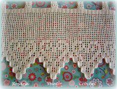 """Visillos en hilo de algodón fina con corazones """"Elina"""" . Thread Crochet, Love Crochet, Filet Crochet, Crochet Lace, Crochet Curtains, Crochet Kitchen, Crochet Projects, Diy Crafts, Quilts"""