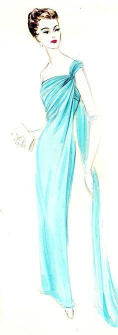 Jacques Griffe dress illustration. Bergdorf Goodman Archives.