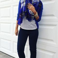 blue plaid blanket scarf + black and white striped tee + blue cardigan