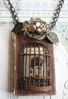 Nice mixed media necklace by Sarah Fawcett