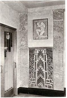"""Chambellan & Jacques Delamarre developed 8 relief sculptures. There were 2 lobbies in the building, each with 4 plaques with abstract metal grilles below them - all to represent a theme of """"New York - City of Opportunity."""" Four plaques each represent the Mental Life and the Physical Life of the individual who desires to succeed. Each plaque had a designated title: Mental Life: Enlightenment, Vision, Courage, Achievement. Physical Life: Endurance, Activity, Effort, Success."""