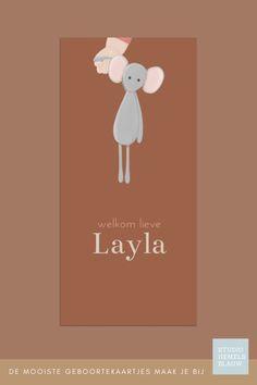 Een lief geboortekaartje voor een meisje met een knuffelmuis en een babyhandje. geboortekaartje   meisje   studio hemelsblauw   muis   illustratie   roestkleur   Layla
