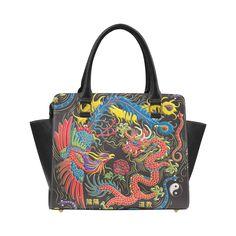 Yin Yang Classic Shoulder Handbag (Model 1653) - Colorful Yin Yang artwork of a Phoenix and Dragon with red, yellow, green, blue, purple, gold, black and white. Coordinates with Yin Yang Running virtual run medal on our website, Virtual Run World, virtualrunworld.com