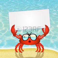 cangrejo caricatura: cangrejo con gafas de sol Foto de archivo