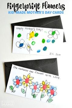 Fingerprint Flowers - Sweet (and EASY) Handmade Mother's Day Cards for Kids - a Mothers Day Craft Idea moms will love!