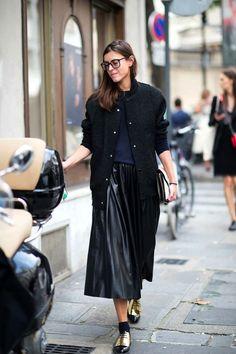 Le Fashion Blog -- Street Style: Bomber Jacket, Leather Pleated Skirt & Celine Gold Oxfords -- Paris Fashion Week Via NY Mag -- photo Le-Fashion-Blog-Street-Style-Bomber-Jacket-Leather-Pleated-Skirt-Celine-Gold-Oxfords-Paris-Fashion-Week-Via-NY-Mag.jpg