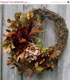 Fall Wreath, Autumn Wreaths, Thanksgiving, Harvest,  Designer Wreath, Elegant Fall Floral, Elegant Holiday Wreath